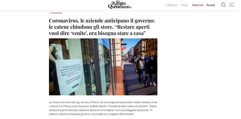 Прочитайте интервью с Филиппо Берто в газете Ил Фатто Куотидиано.