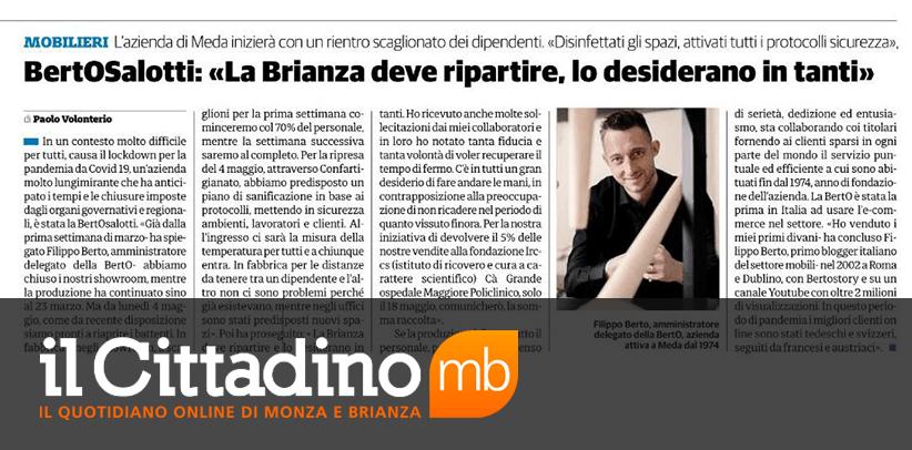 интервью с Филиппо Берто на страницах газеты Гражданин города Монца и Брианца